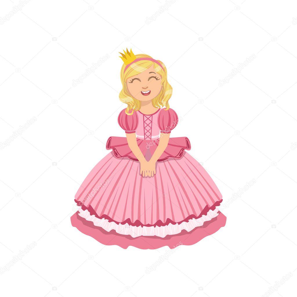 Niña en vestido rosa vestida como princesa de cuento de hadas ...