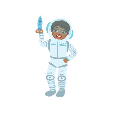 Boy Dressed As Astronaut Holding Toy Spaceship
