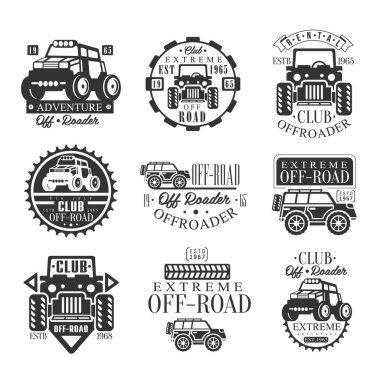 Quad Bike Rental Club Set Of Emblems With Black And White Quadricycle Atv Off-Road Transportation Silhouettes
