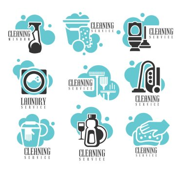 House And Office Cleaning Service Hire Labels Set, Logo Templates For Professional Cleaners Help For The Housekeeping