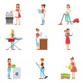Fényképek Boldog Modern háziasszonyok, takarítás