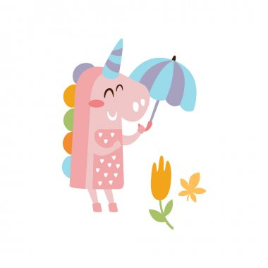 Pink Unicorn Holding Umbrella