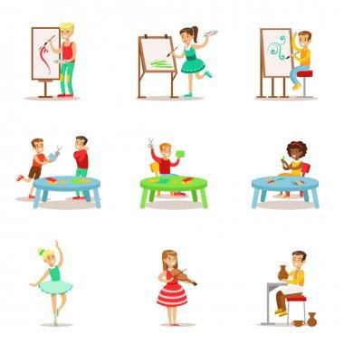 Creative Children Practicing Different Arts