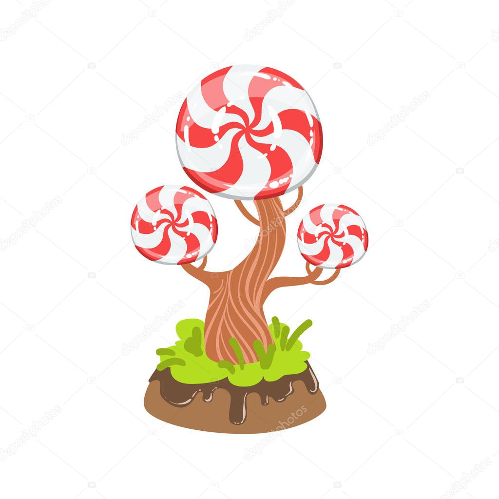 Hard Candy With Classic Swirl Pattern Tree Fantasy Candy Land Sweet Landscape Element