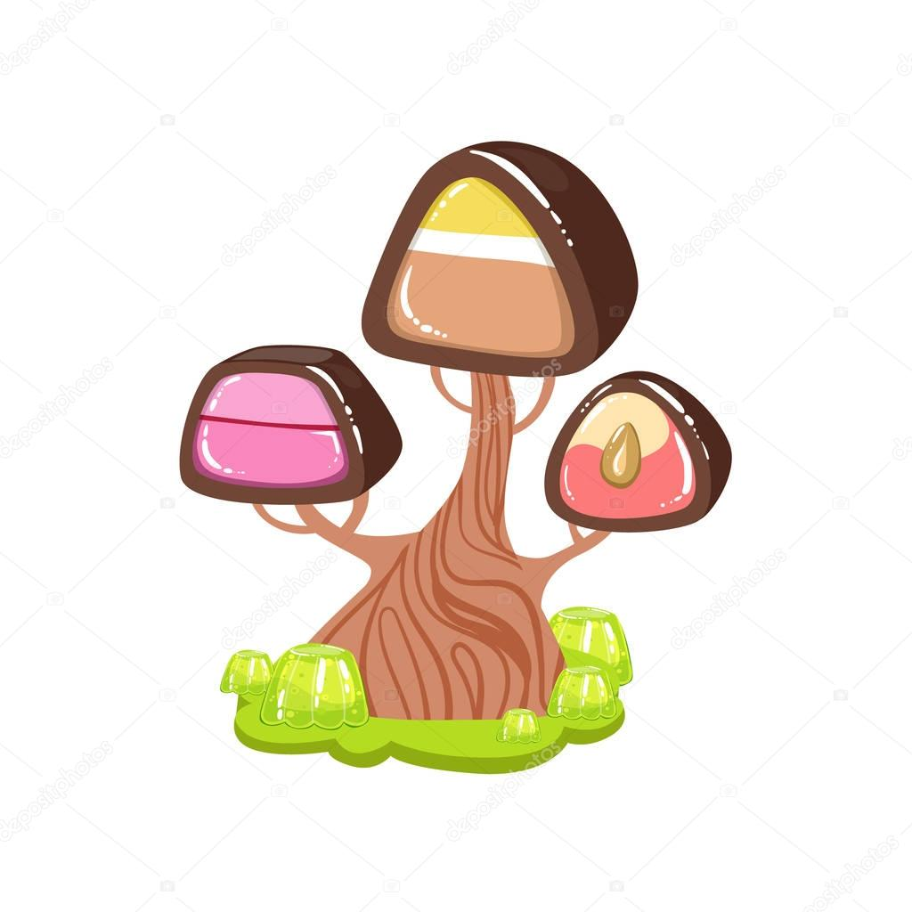 Tree With Chocolate Trunk And Chocolate Candy Crown Fantasy Candy Land Sweet Landscape Element
