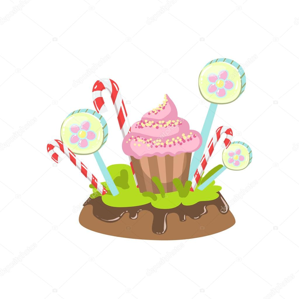 Cupcake, Hard Candy Stick And Lollypop Vegetation Fantasy Candy Land Sweet Landscape Element