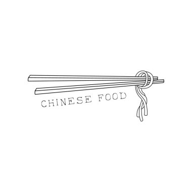 Pair Of Sticks With Noodles On Chinese Food And Wok Fast Food Cafe Menu Hand Drawn Illustration