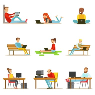 Happy People Spending Their Time Using Computer Collection Of Vector Illustrations With Men And Women Using Modern Technology