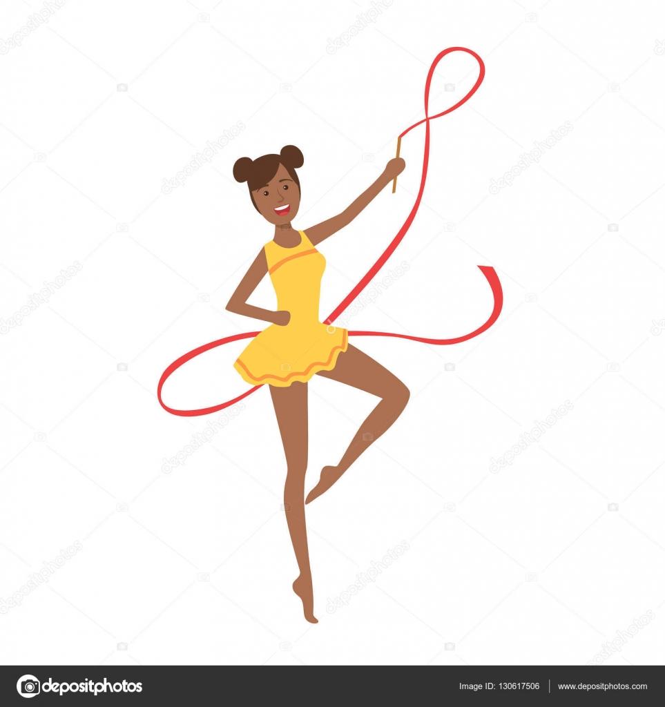 18fd11ead Ginástica rítmica profissional preto desportista no collant amarelo  realizando um elemento com aparelho de fita. Competição feminina programa  ginasta ...