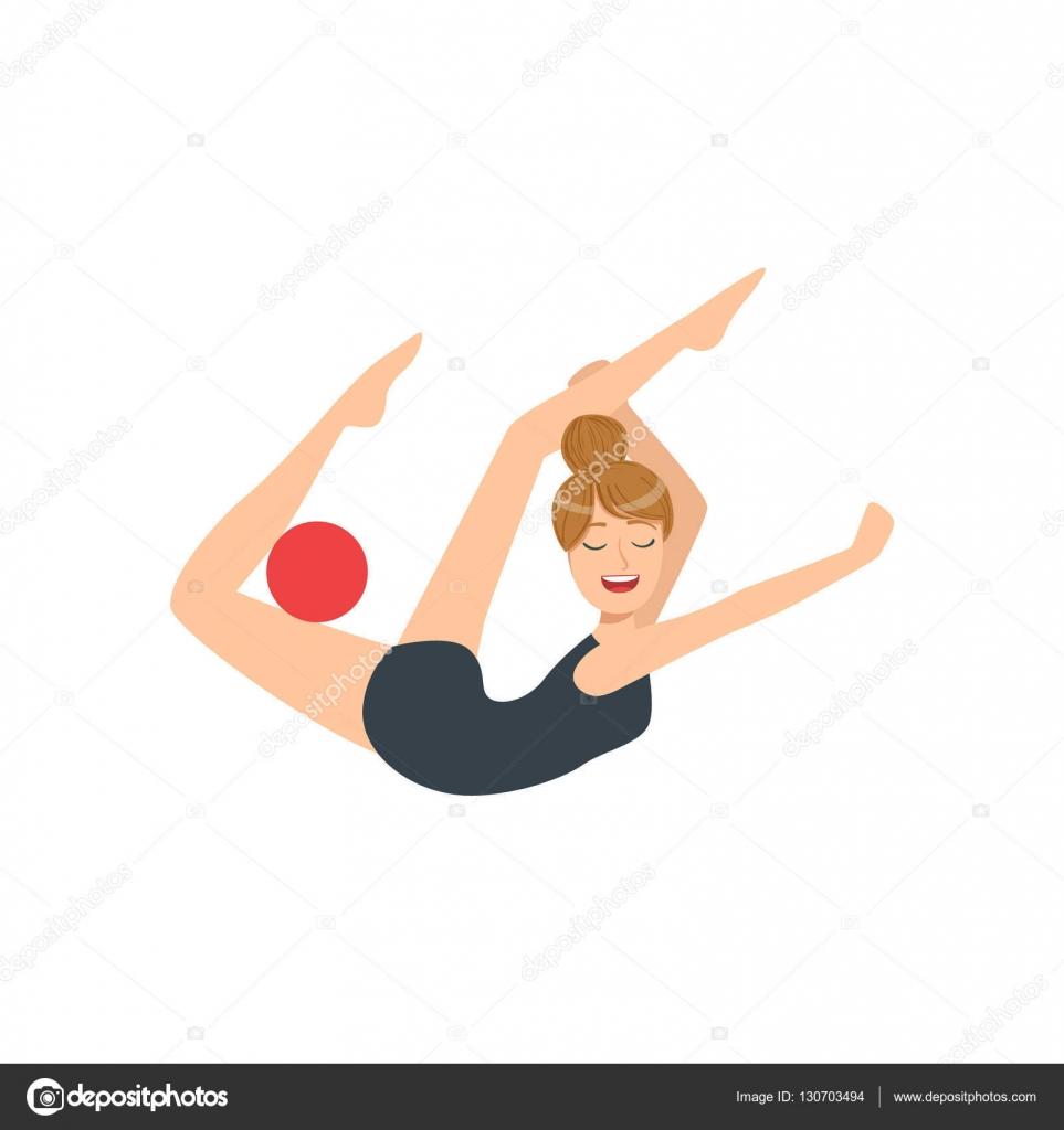 1ef89b32d Desportista profissional ginástica rítmica em collant preto realizando um  elemento com aparelhos de bola. Competição feminina programa ginasta  desempenho ...