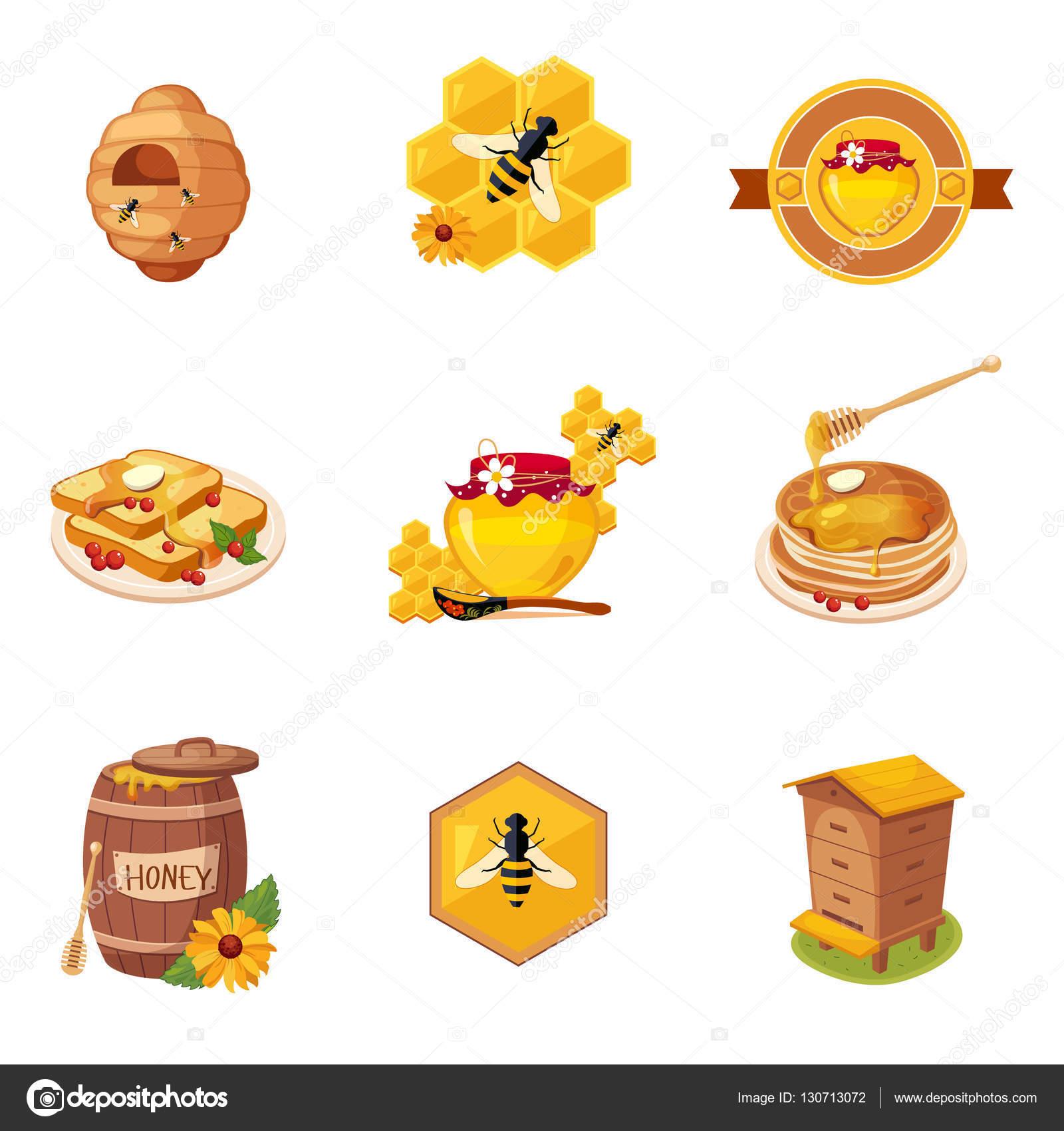 蜂蜜とイラストの関連食品ラベル セット ストックベクター