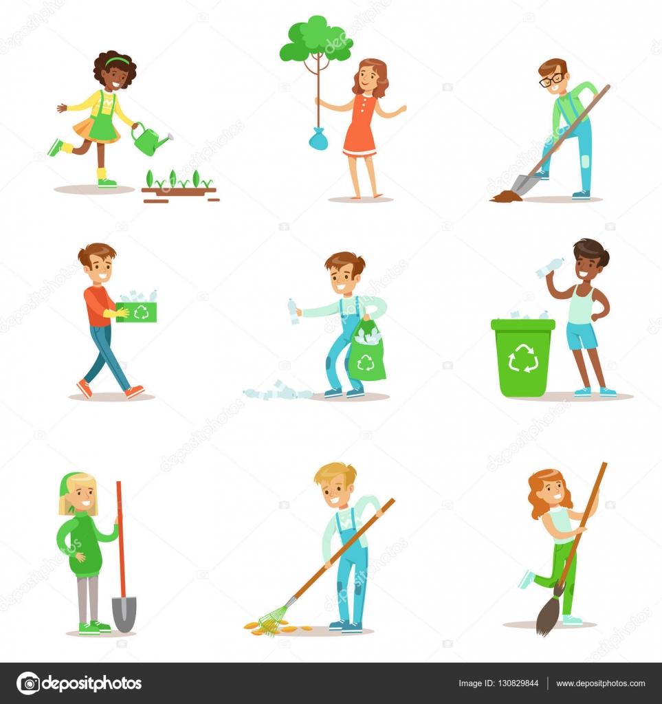 Aufräumen kinder helfen im öko garten bäume pflanzen im freien aufräumen