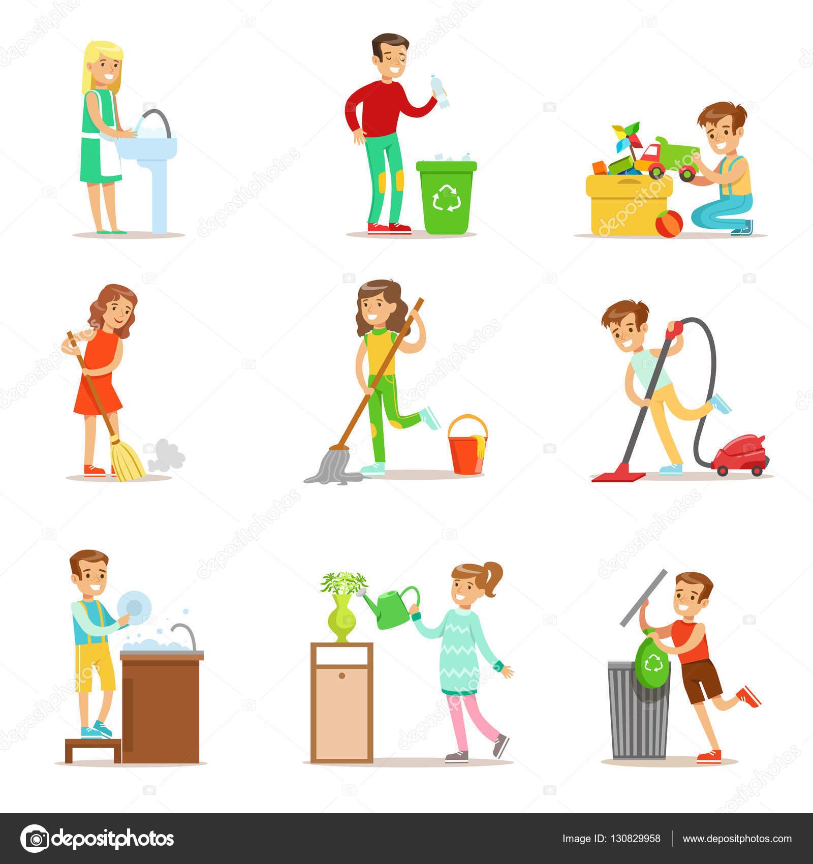 Enfants aident avec un nettoyage maison laver le plancher jeter des ordures et larrosage des plantes enfants nettoyage à lintérieur avec linventaire