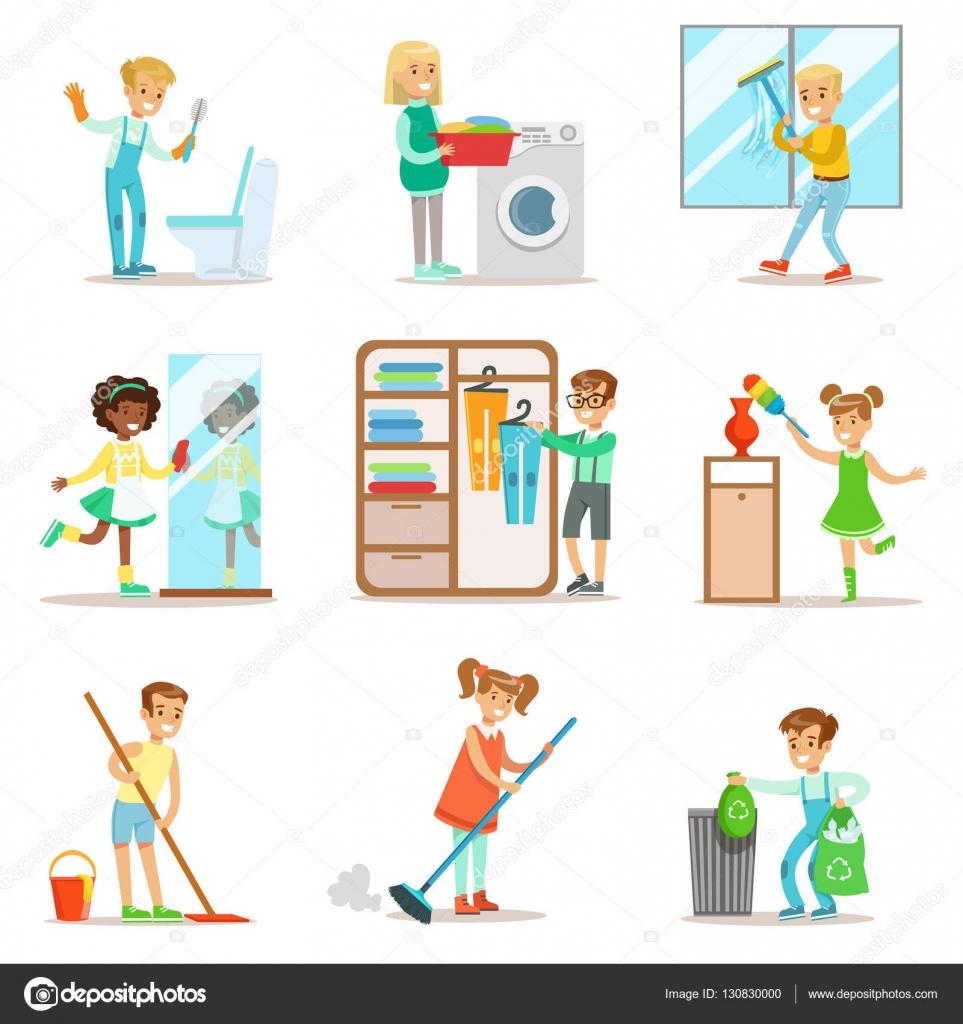 Enfants aident avec un nettoyage maison laver le plancher jeter des ordures laver les fenêtres et miroir enfants nettoyage à lintérieur avec