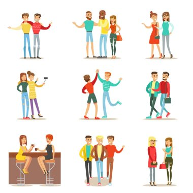 Happy Best Friends Having Good Time Together, Going Out And Talking Set Of Friendship Themed Illustrations