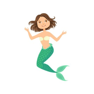 Short Brown Hair Mermaid In White Swimsuit Top Bra Fairy-Tale Fantastic Creature Illustration