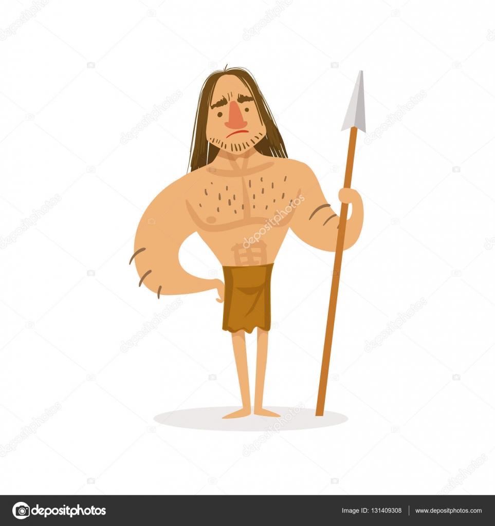 石器時代に住んでいる動物の毛皮で最初のホモ ・ サピエンスの隠者の