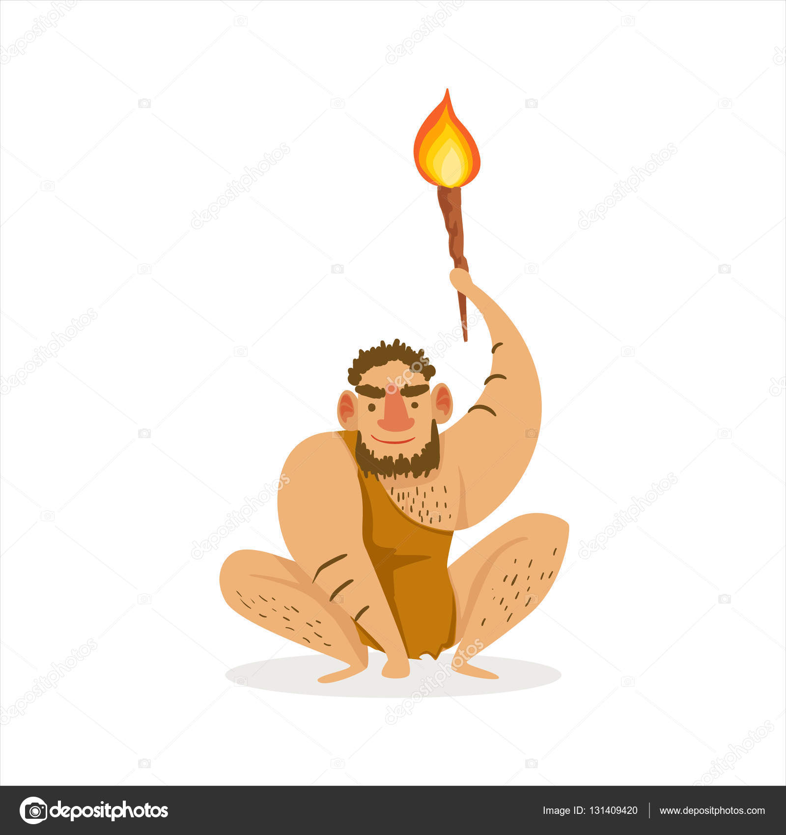 Hairy Man Crouching With Alite Torch Cartoon Illustration Of First Homo  Sapiens Troglodyte In Animal Pelt