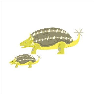 Ankylosaurus Dinosaur Prehistoric Monster Couple Of Similar Specimen Big And Small Cartoon Vector Illustration