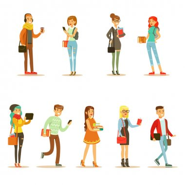 University And College Students Street Fashion Looks Set With Young Men And Women With Bags And Books. Modern Young Adults Going To Their Studies Looking Cool In Hipster Clothing Style. clip art vector