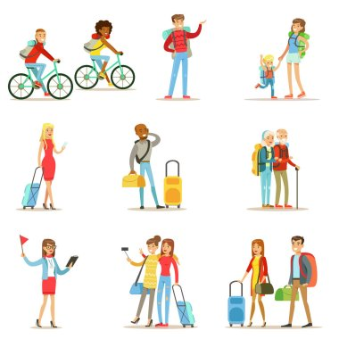 Happy People Traveling And Having Camping Trips Set Of Flat Cartoon Tourists Characters
