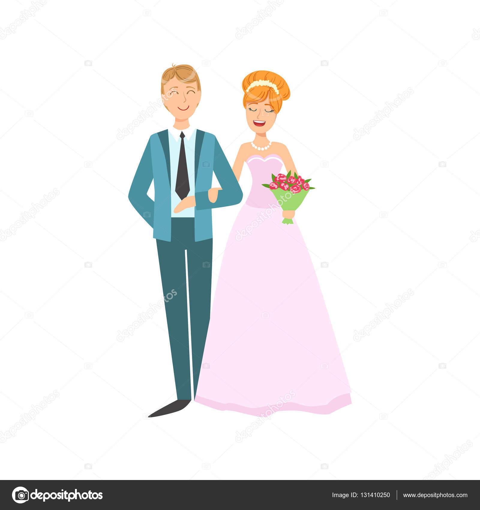 Cabeza roja novia y el novio recién casada pareja en vestido de ...