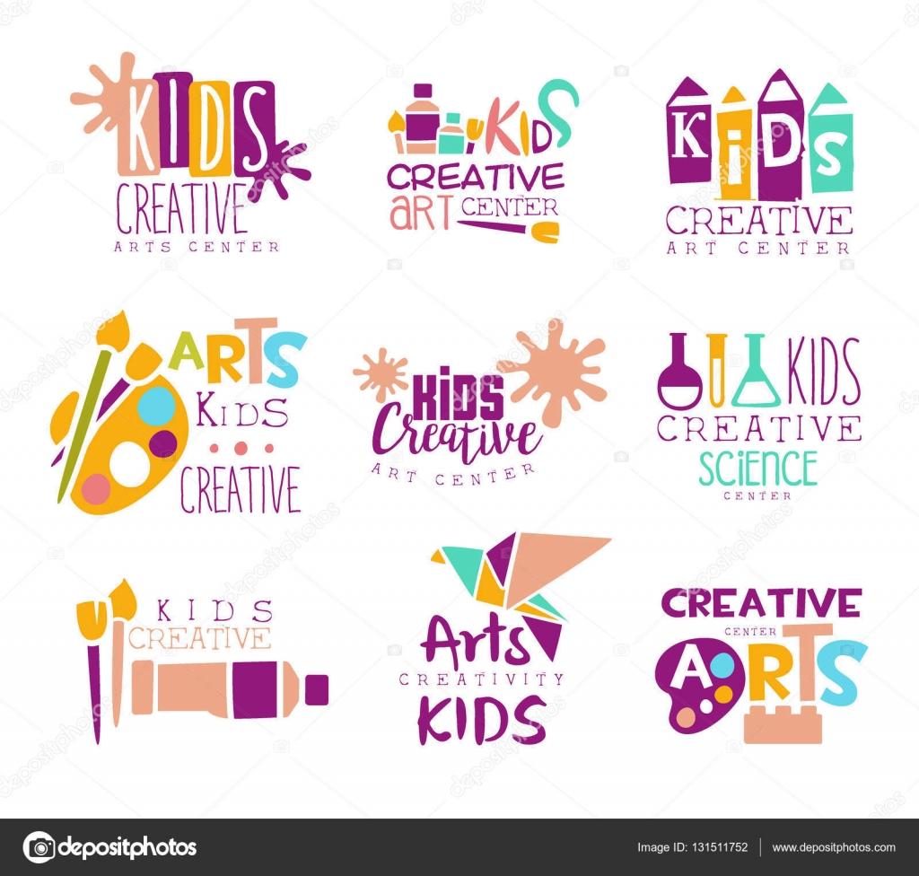 Niños clase creativa plantilla Logo promocional conjunto con ...