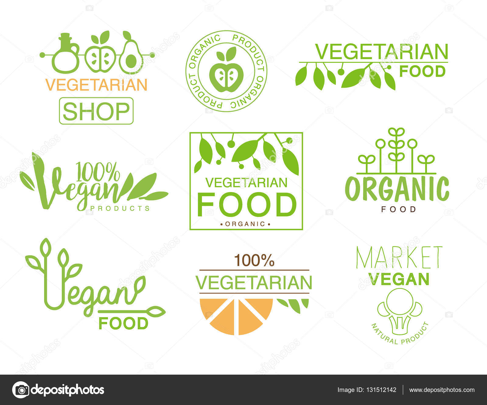 vegan natural food set of template shop logo signs in green and