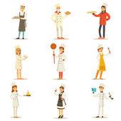 Profesionální vaření kuchařů v restauraci tradiční bílé uniformě sada kreslené postavičky