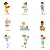 Gyermekek, akik szeretnek olvasni sor illusztrációk a gyerekek élvezi olvasni, otthon és könyvtár