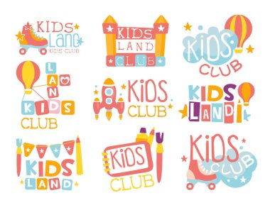 Kids Land Playground And Entertainment Club Set Of Colorful Promo Signs For The Playing Space For Children