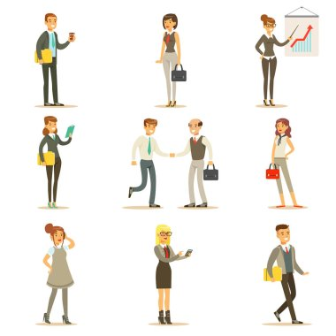 Business, Finance And Office Employees In Suits Busy At Work Set Of Cartoon Businessman And Businesswoman Characters Illustrations