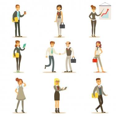 İş, finans ve Ofis çalışanları işler yoğun takım elbiseli karikatür işadamı ayarla ve illüstrasyonlar işkadını karakterleri