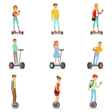 People Riding Electric Self-Balancing Batery Poweres Personal Electric Scooters Whith One Or Two Wheels, Set Of Cartooon Characters