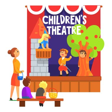 Romeo And Juliette Scene With The Balcony Performed By Kids In Amateur Theatre With Other Pupils Watching With Teacher