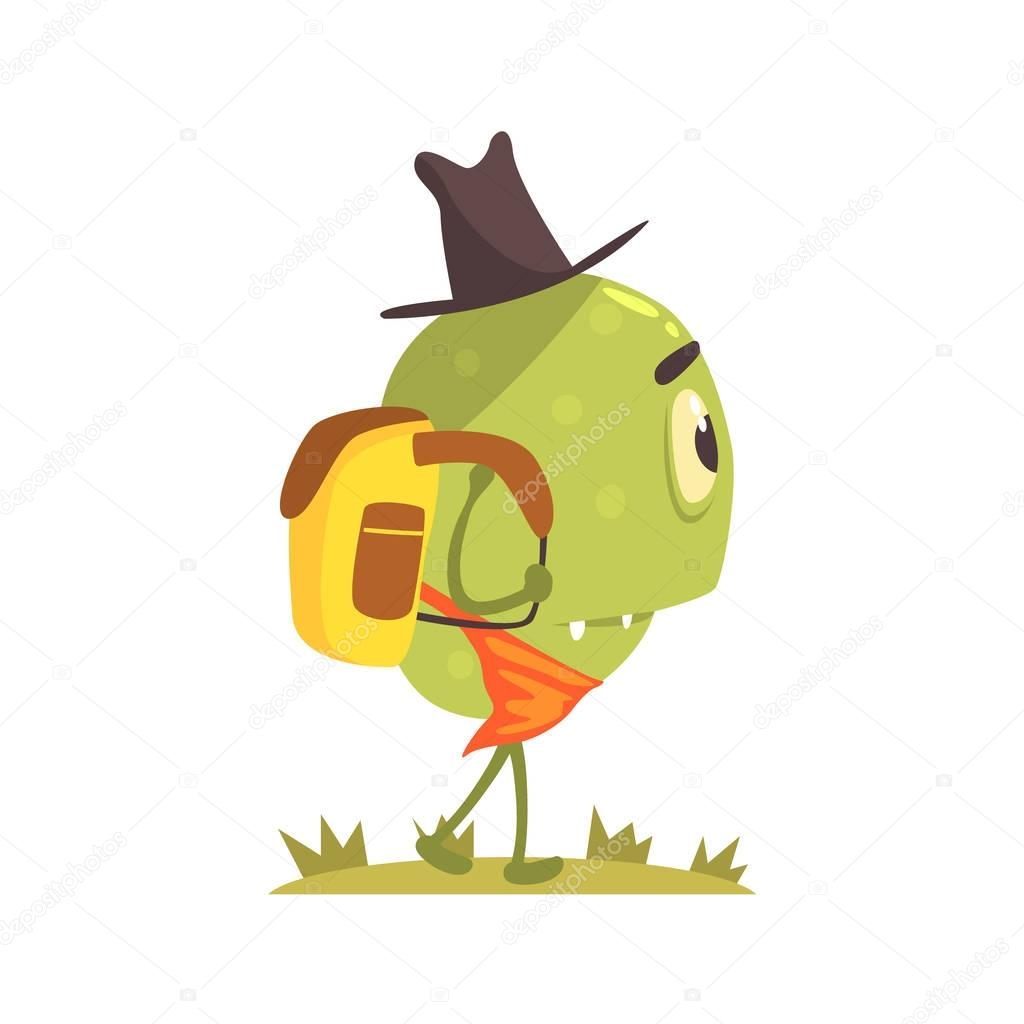 Green One-eyed Monster In Hat And Bandana Scarf With Backpack, Alien Camping And Hiking Cartoon Illustration