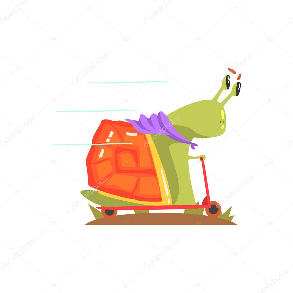 Snail Monster In Purple Scarf Riding A Scooter, Alien Camping And Hiking Cartoon Illustration