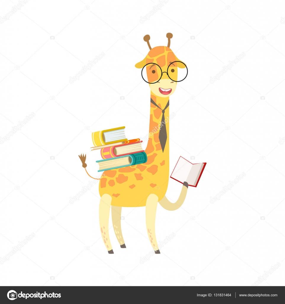 Jirafa Sonriente Bookworm Zoológico Personaje Con Gafas Y Leyendo Un