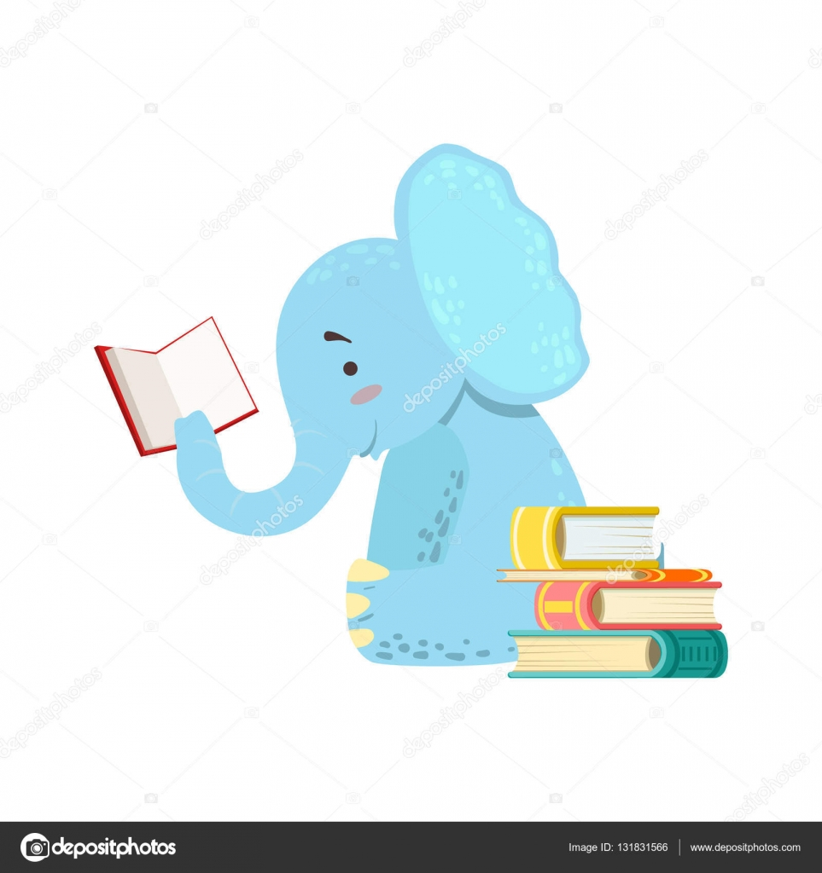 象の本を読んで本の虫動物園文字を笑って漫画イラスト部図書館の蔵書の