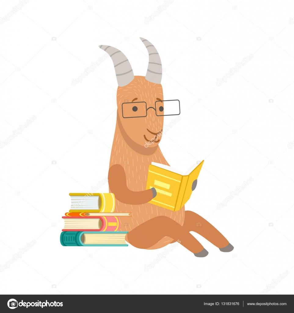 Cabra Sonriente Bookworm Zoológico Personaje Con Gafas Y Leyendo Una