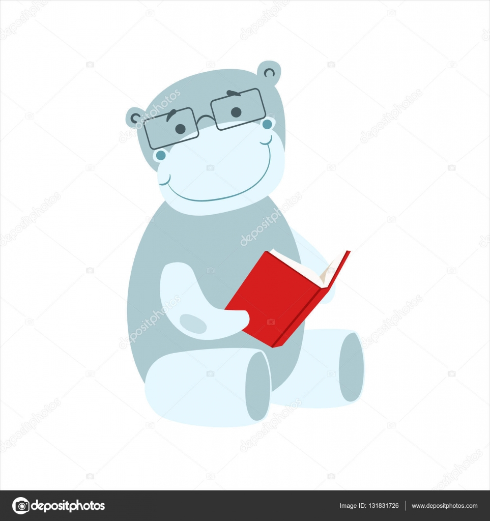 Dibujo De Una Biblioteca Infantil Hipopótamo Sonriendo Bookworm