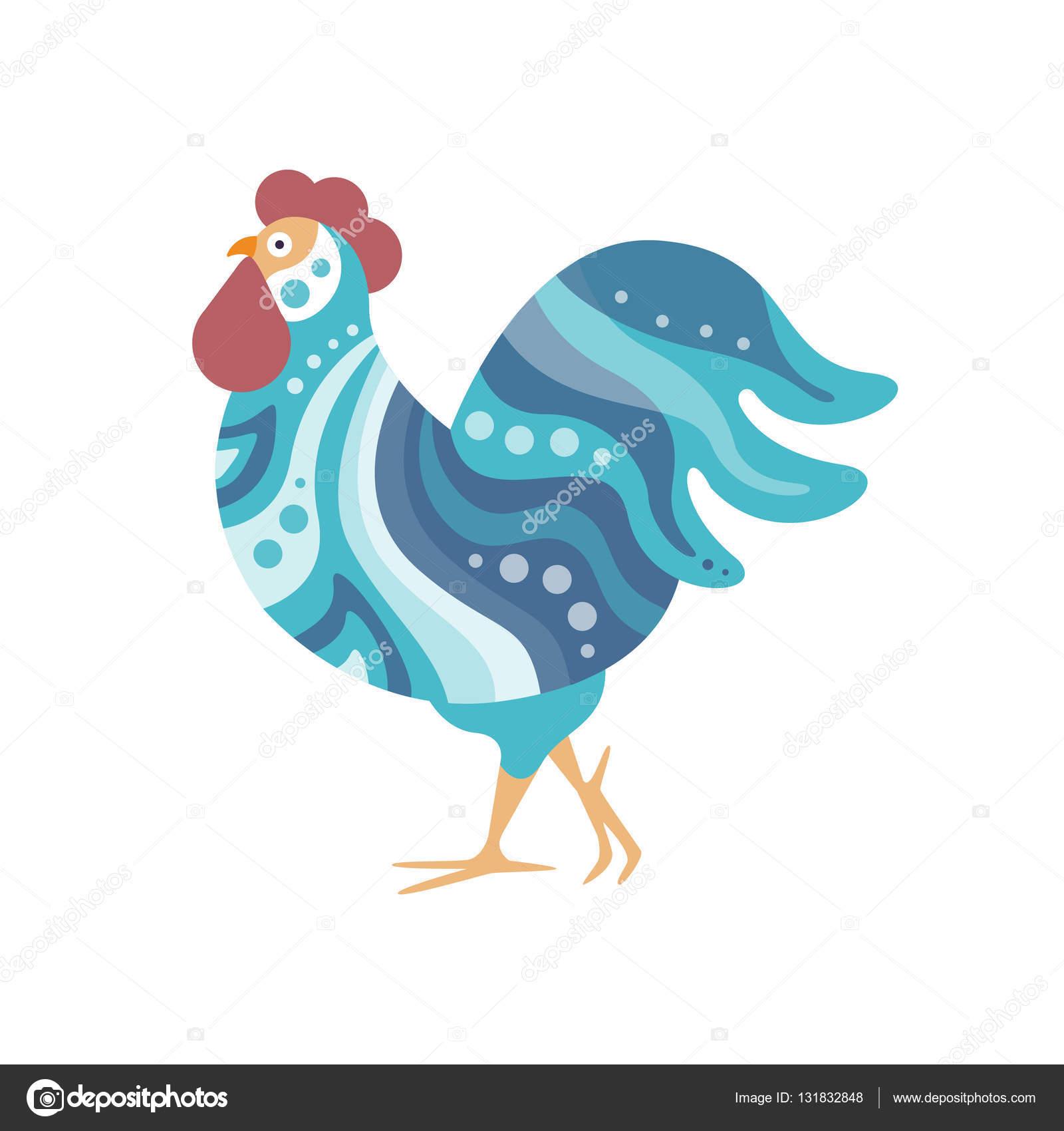 b43202ca15338 Aves de granja gallo color estilo artísticos modernos llenado de patrón de  franjas onduladas de color azul y colorida ilustración de puntos.