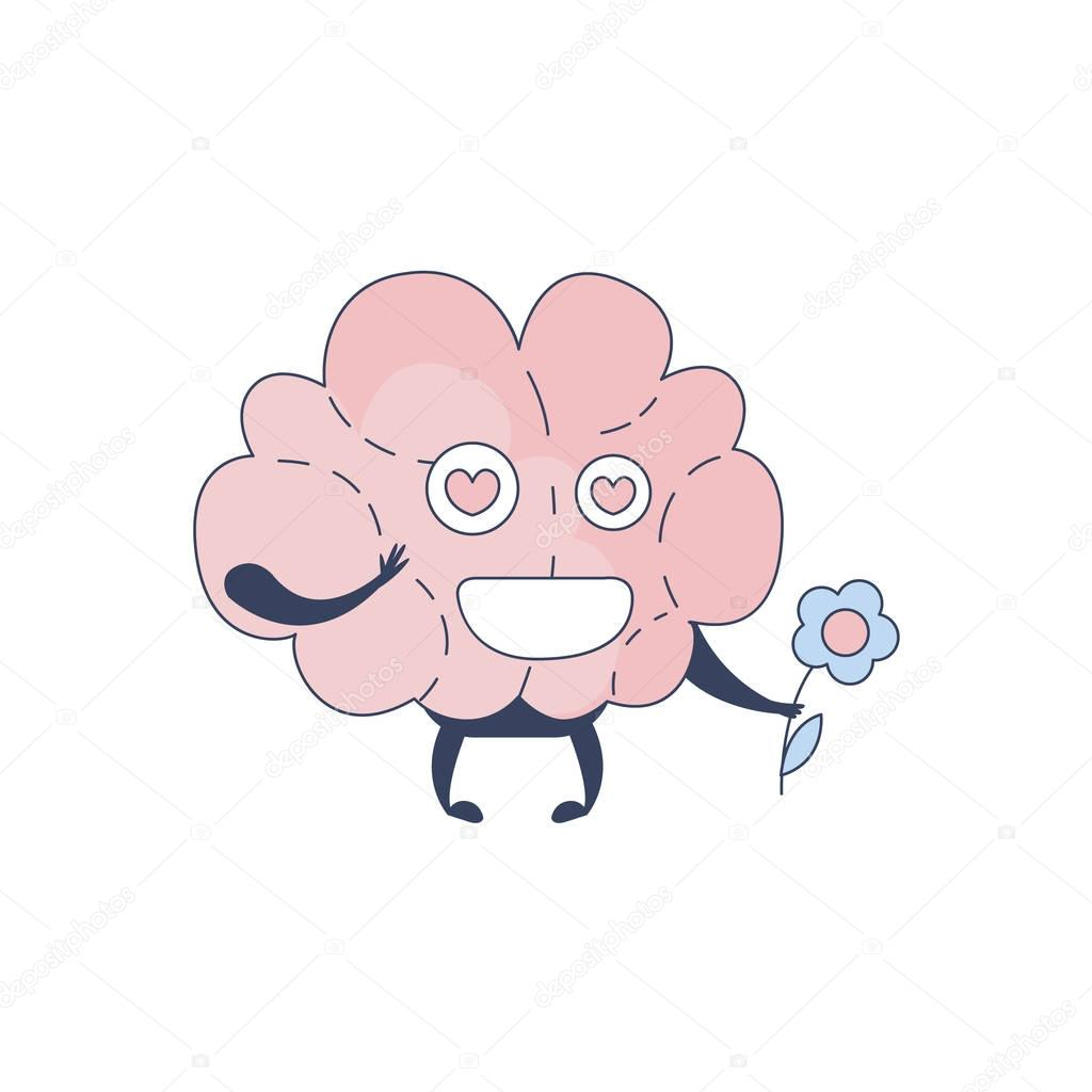 Brain In Love Comic Character Representing Intellect And Intellectual Activities Of Human Mind Cartoon Flat Vector Illustration