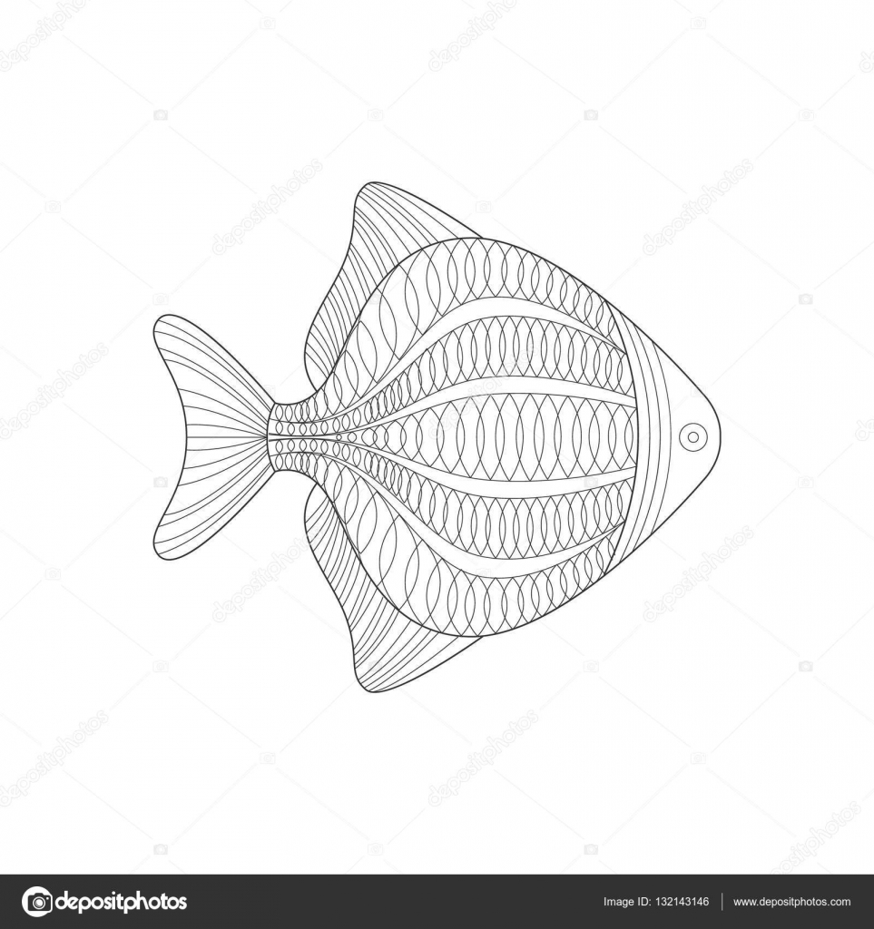 Aquarium Poisson mer Nature sous marine adulte noir et blanc Zentangle Illustration du livre   colorier — Image