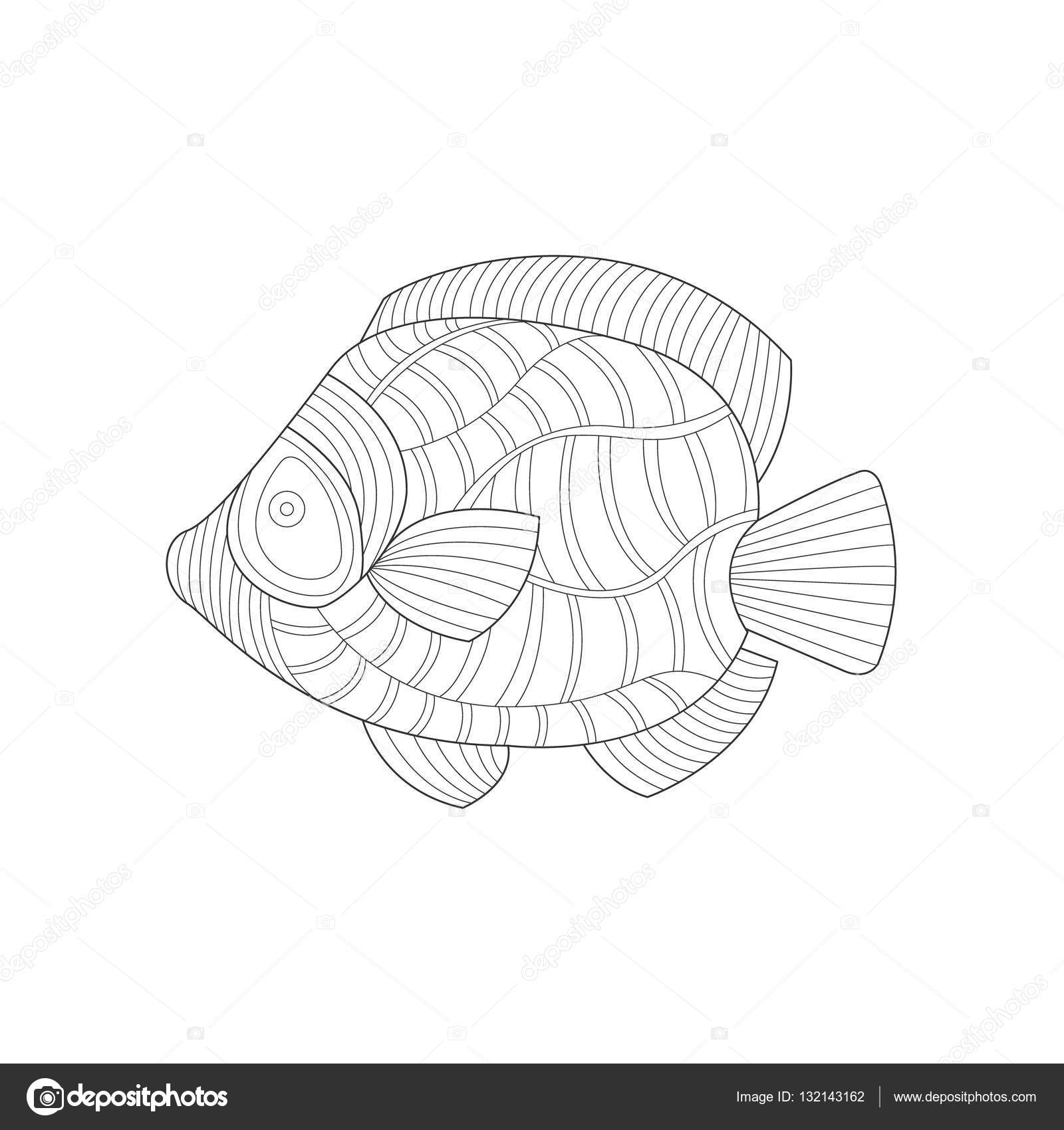 Angel Fish Sea Underwater Nature Adult Black And White Zentangle Coloring Book Illustration Stock Vector