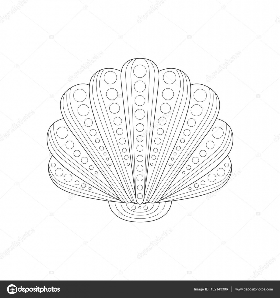 Clam Shell mer Nature sous marine adulte noir et blanc Zentangle Illustration du livre   colorier — Image
