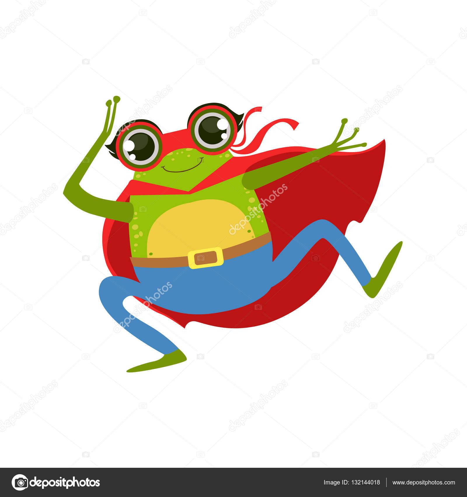 Frosch Tier gekleidet als Superheld mit A Cape Comic maskierten ...