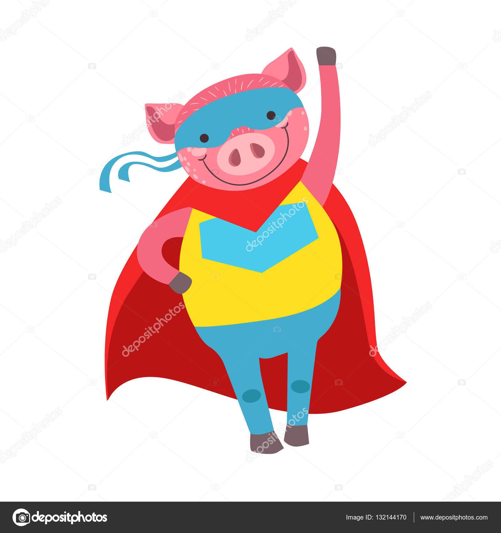 sélectionner pour l'original vente chaude authentique sélectionner pour authentique Cochon Animal déguisé en super-héros avec une Cape Comic ...
