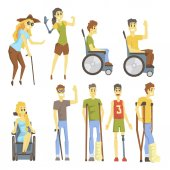 Photo Young People With Permanent And Temporary Disabilities Overcoming The Injury And Living Full Live Collection Of Vector Illustrations.