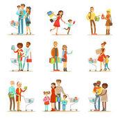 Fényképek Vásárlás, áruház és bevásárlóközpont rajzfilmfigurák termékek és tárgyak a boltban vásárol családok
